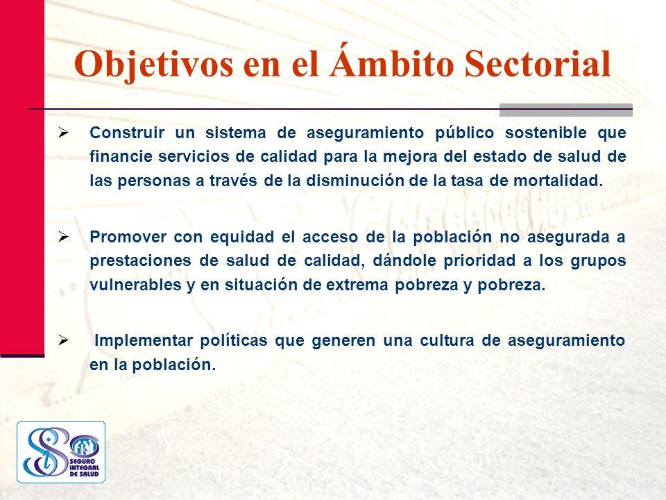 Objetivos en el Ámbito Sectorial Construir un sistema de aseguramiento público sostenible que financie servicios de calidad para la mejora del estado