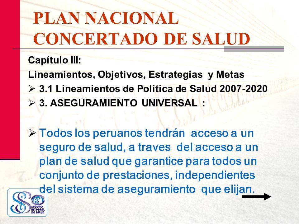 PLAN NACIONAL CONCERTADO DE SALUD Capítulo III: Lineamientos, Objetivos, Estrategias y Metas 3.1 Lineamientos de Política de Salud 2007-2020 3. ASEGUR