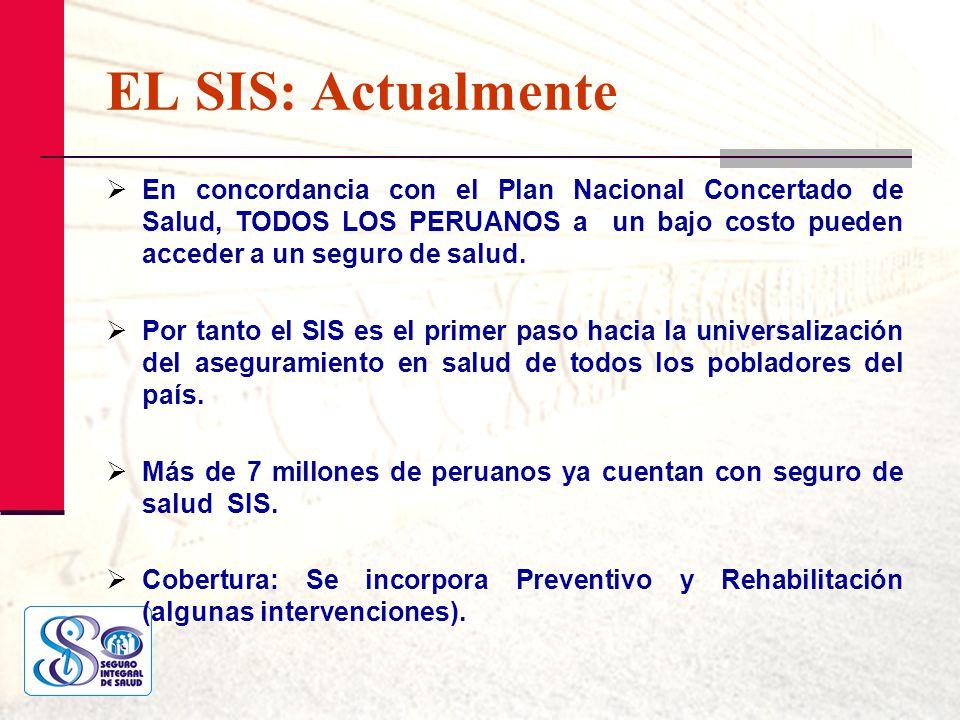EL SIS: Actualmente En concordancia con el Plan Nacional Concertado de Salud, TODOS LOS PERUANOS a un bajo costo pueden acceder a un seguro de salud.