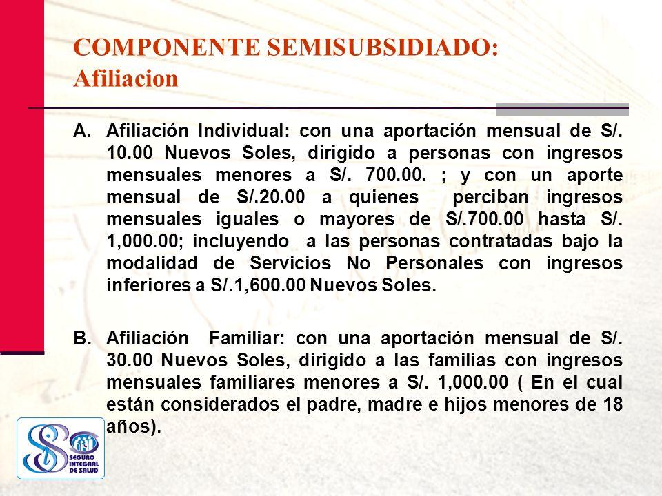 COMPONENTE SEMISUBSIDIADO: Afiliacion A.Afiliación Individual: con una aportación mensual de S/. 10.00 Nuevos Soles, dirigido a personas con ingresos