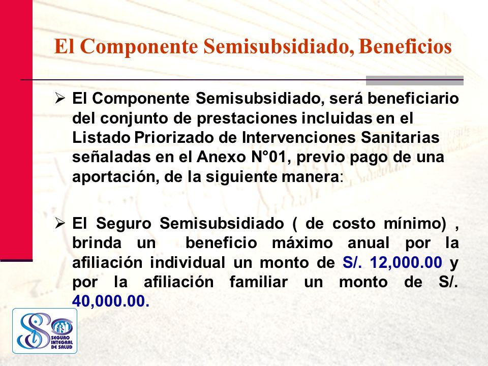 El Componente Semisubsidiado, Beneficios El Componente Semisubsidiado, será beneficiario del conjunto de prestaciones incluidas en el Listado Prioriza