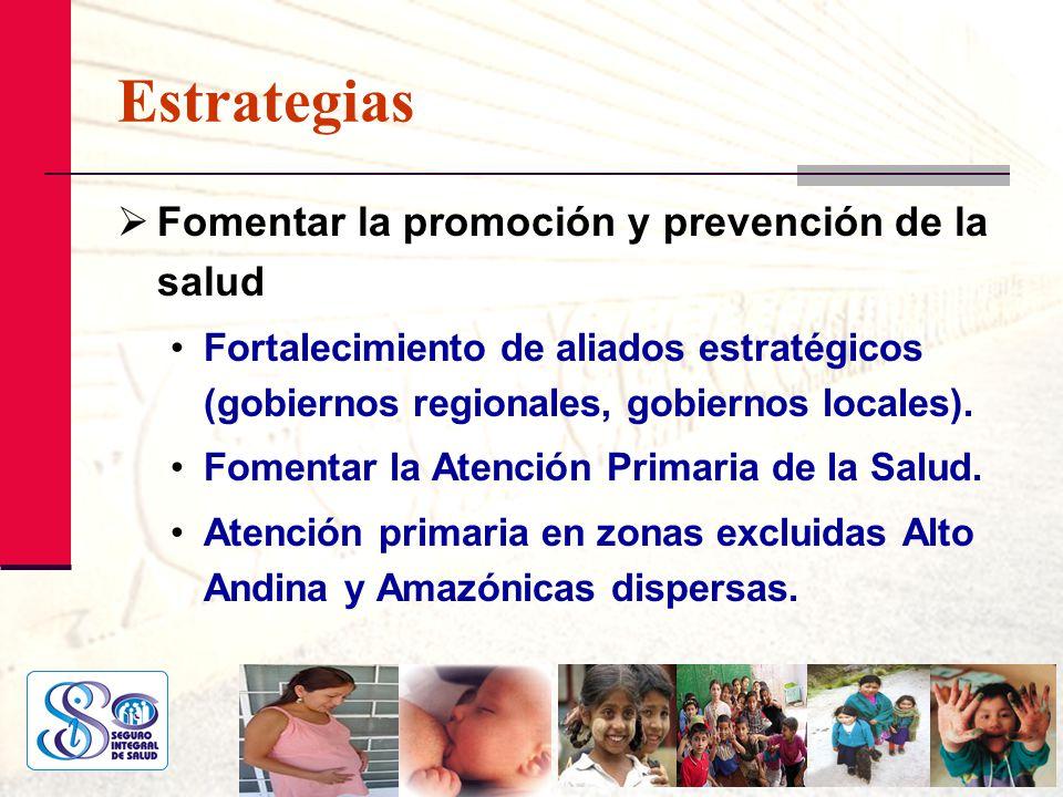 Estrategias Fomentar la promoción y prevención de la salud Fortalecimiento de aliados estratégicos (gobiernos regionales, gobiernos locales). Fomentar