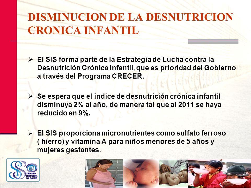 DISMINUCION DE LA DESNUTRICION CRONICA INFANTIL El SIS forma parte de la Estrategia de Lucha contra la Desnutrición Crónica Infantil, que es prioridad