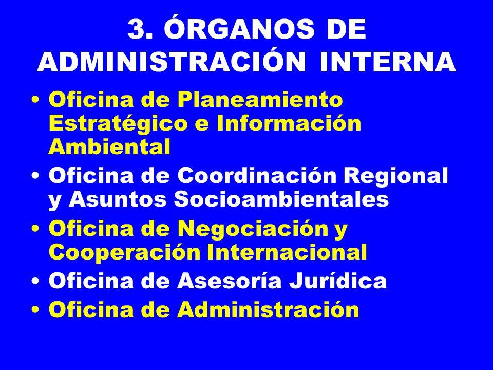 3. ÓRGANOS DE ADMINISTRACIÓN INTERNA Oficina de Planeamiento Estratégico e Información Ambiental Oficina de Coordinación Regional y Asuntos Socioambie