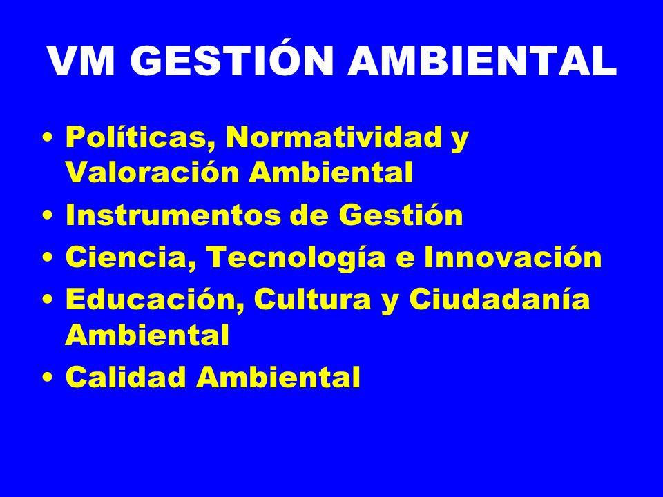 VM GESTIÓN AMBIENTAL Políticas, Normatividad y Valoración Ambiental Instrumentos de Gestión Ciencia, Tecnología e Innovación Educación, Cultura y Ciudadanía Ambiental Calidad Ambiental