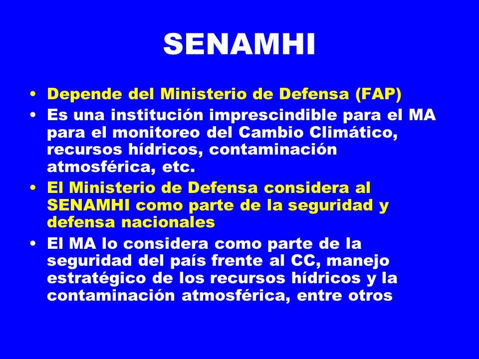 SENAMHI Depende del Ministerio de Defensa (FAP) Es una institución imprescindible para el MA para el monitoreo del Cambio Climático, recursos hídricos, contaminación atmosférica, etc.