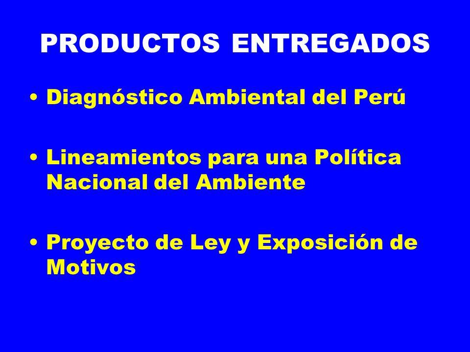 PRODUCTOS ENTREGADOS Diagnóstico Ambiental del Perú Lineamientos para una Política Nacional del Ambiente Proyecto de Ley y Exposición de Motivos