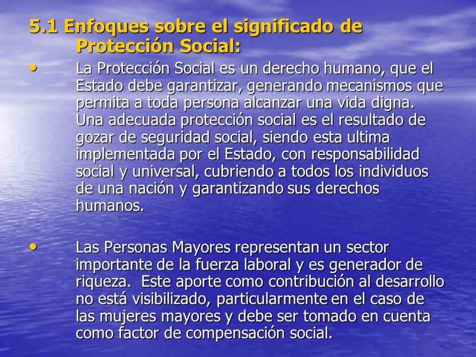 5.1 Enfoques sobre el significado de Protección Social: La Protección Social es un derecho humano, que el Estado debe garantizar, generando mecanismos que permita a toda persona alcanzar una vida digna.