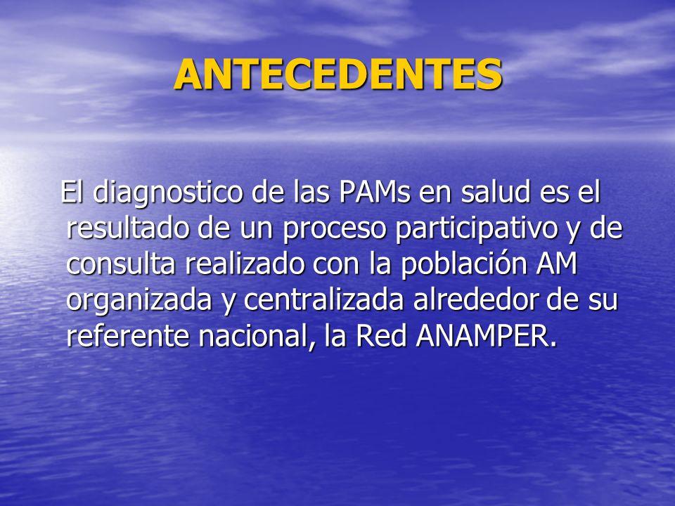 ANTECEDENTES El diagnostico de las PAMs en salud es el resultado de un proceso participativo y de consulta realizado con la población AM organizada y centralizada alrededor de su referente nacional, la Red ANAMPER.