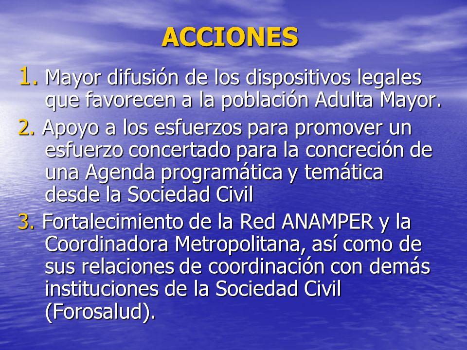 ACCIONES 1. Mayor difusión de los dispositivos legales que favorecen a la población Adulta Mayor.