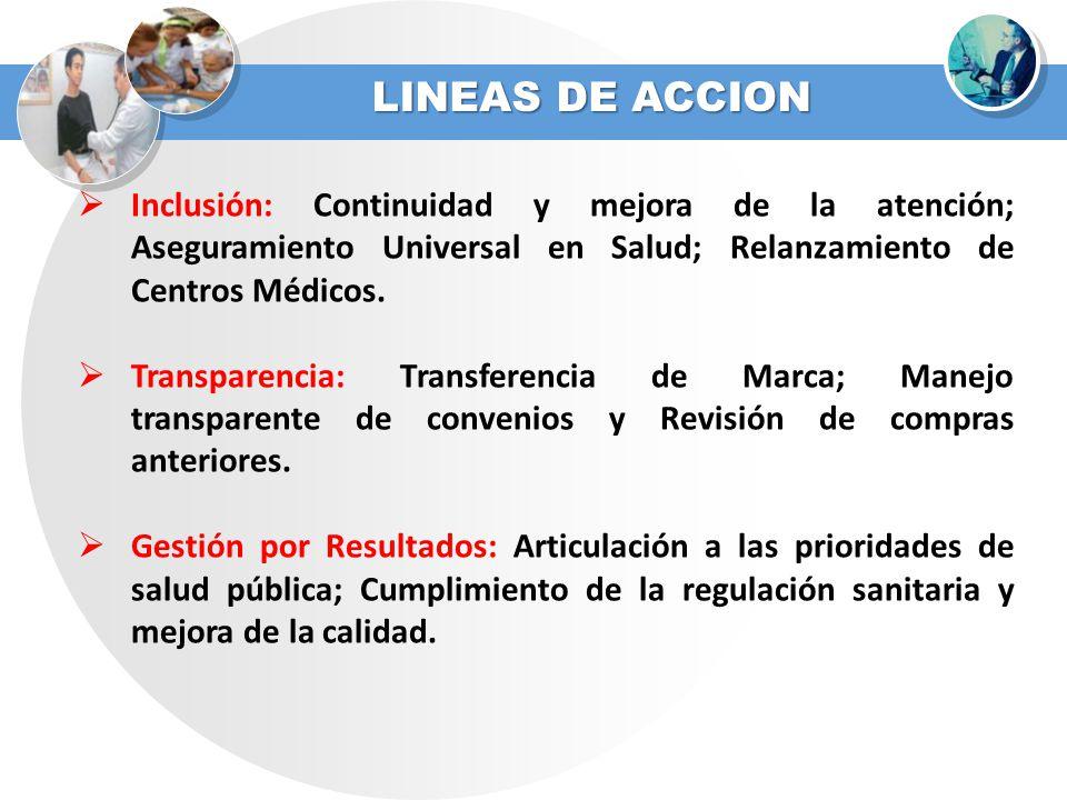 LINEAS DE ACCION Inclusión: Continuidad y mejora de la atención; Aseguramiento Universal en Salud; Relanzamiento de Centros Médicos. Transparencia: Tr