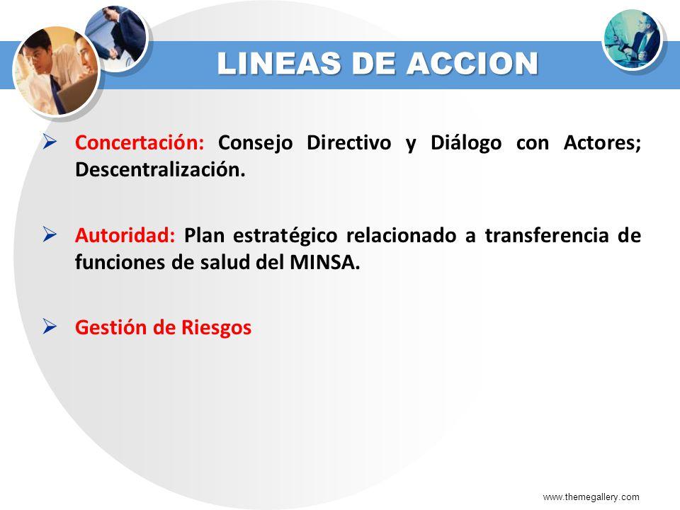 LINEAS DE ACCION Concertación: Consejo Directivo y Diálogo con Actores; Descentralización. Autoridad: Plan estratégico relacionado a transferencia de
