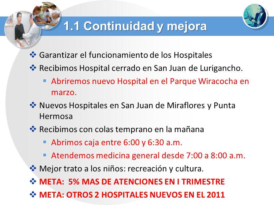 Garantizar el funcionamiento de los Hospitales Recibimos Hospital cerrado en San Juan de Lurigancho. Abriremos nuevo Hospital en el Parque Wiracocha e