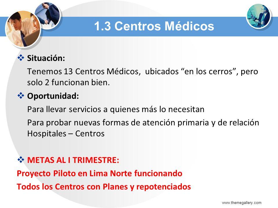 1.3 Centros Médicos Situación: Tenemos 13 Centros Médicos, ubicados en los cerros, pero solo 2 funcionan bien. Oportunidad: Para llevar servicios a qu