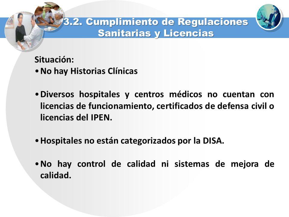 Situación: No hay Historias Clínicas Diversos hospitales y centros médicos no cuentan con licencias de funcionamiento, certificados de defensa civil o
