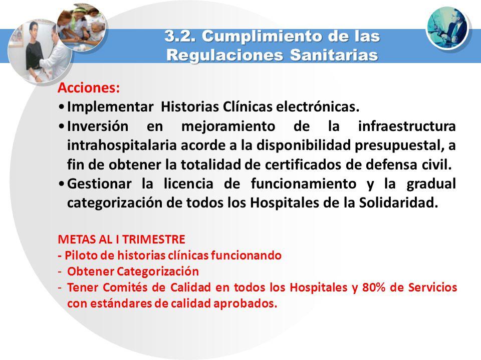 Acciones: Implementar Historias Clínicas electrónicas. Inversión en mejoramiento de la infraestructura intrahospitalaria acorde a la disponibilidad pr