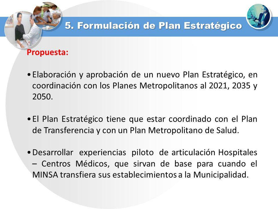 5. Formulación de Plan Estratégico Propuesta: Elaboración y aprobación de un nuevo Plan Estratégico, en coordinación con los Planes Metropolitanos al