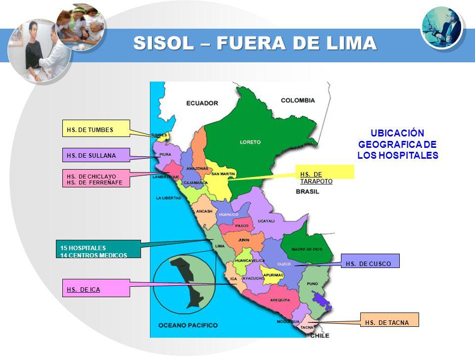 HS. DE SULLANA HS. DE CHICLAYO HS. DE FERREÑAFE HS. DE TUMBES 15 HOSPITALES 14 CENTROS MEDICOS HS. DE TACNA HS. DE ICA HS. DE TARAPOTO UBICACIÓN GEOGR