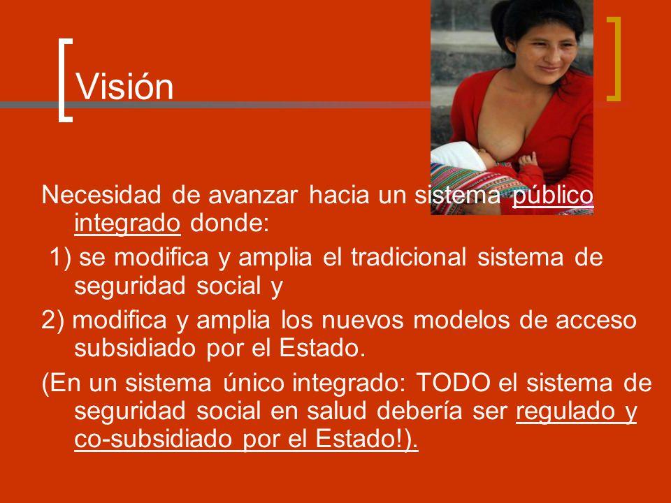 Visión Necesidad de avanzar hacia un sistema público integrado donde: 1) se modifica y amplia el tradicional sistema de seguridad social y 2) modifica y amplia los nuevos modelos de acceso subsidiado por el Estado.