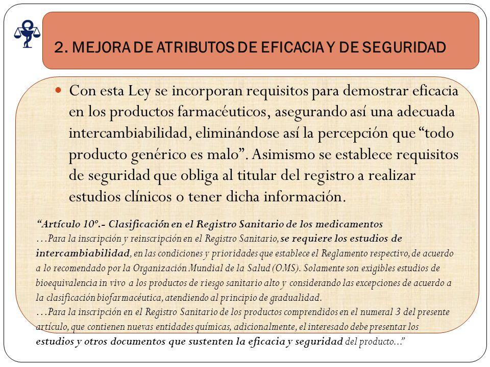 2. MEJORA DE ATRIBUTOS DE EFICACIA Y DE SEGURIDAD Con esta Ley se incorporan requisitos para demostrar eficacia en los productos farmacéuticos, asegur