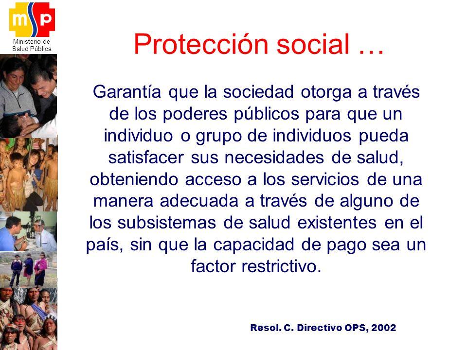 Ministerio de Salud Pública Garantía que la sociedad otorga a través de los poderes públicos para que un individuo o grupo de individuos pueda satisfa