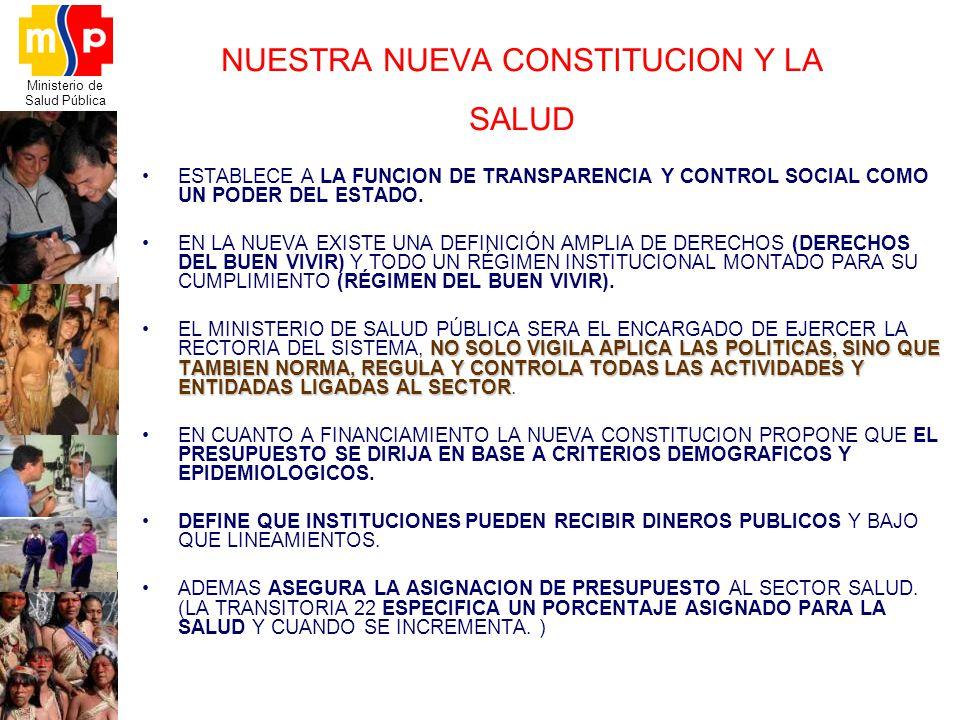 Ministerio de Salud Pública NUESTRA NUEVA CONSTITUCION Y LA SALUD ESTABLECE A LA FUNCION DE TRANSPARENCIA Y CONTROL SOCIAL COMO UN PODER DEL ESTADO. E
