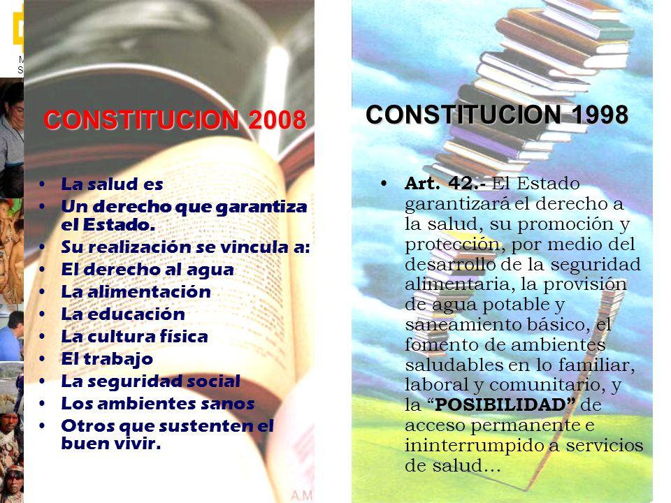 Ministerio de Salud Pública Art. 42.- El Estado garantizará el derecho a la salud, su promoción y protección, por medio del desarrollo de la seguridad
