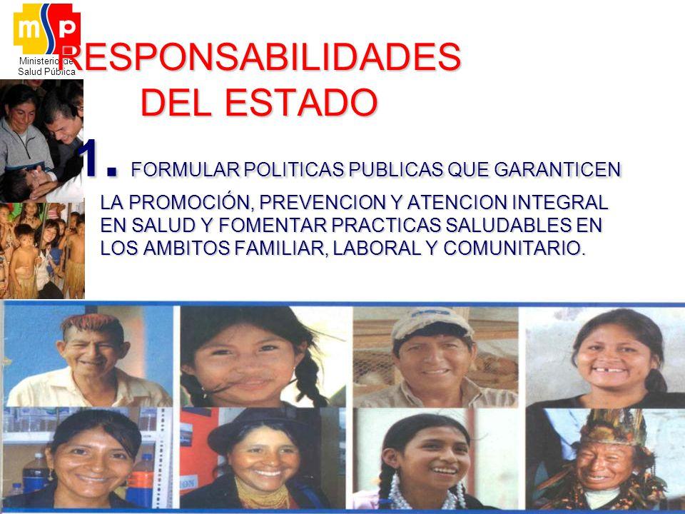 Ministerio de Salud Pública RESPONSABILIDADES DEL ESTADO 1. FORMULAR POLITICAS PUBLICAS QUE GARANTICEN LA PROMOCIÓN, PREVENCION Y ATENCION INTEGRAL EN