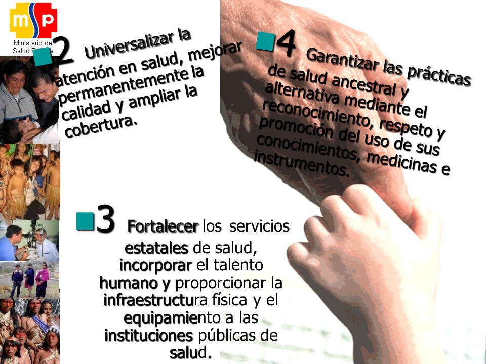 Ministerio de Salud Pública 4 Garantizar las prácticas de salud ancestral y alternativa mediante el reconocimiento, respeto y promoción del uso de sus