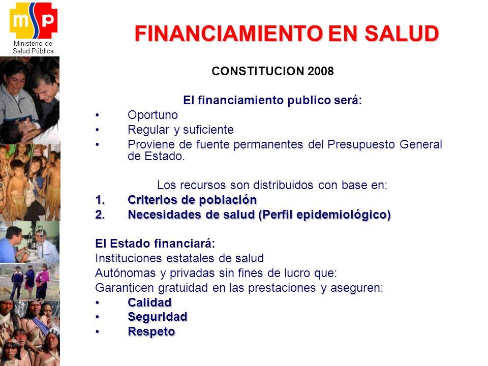 Ministerio de Salud Pública FINANCIAMIENTO EN SALUD CONSTITUCION 2008 El financiamiento publico será: Oportuno Regular y suficiente Proviene de fuente
