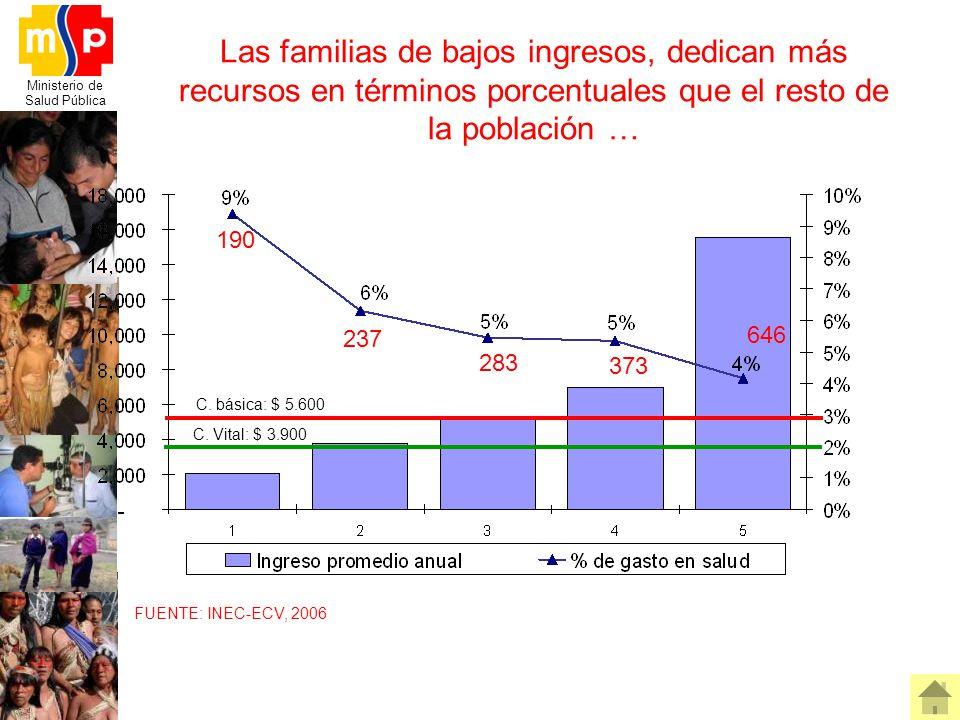 Ministerio de Salud Pública Las familias de bajos ingresos, dedican más recursos en términos porcentuales que el resto de la población … FUENTE: INEC-