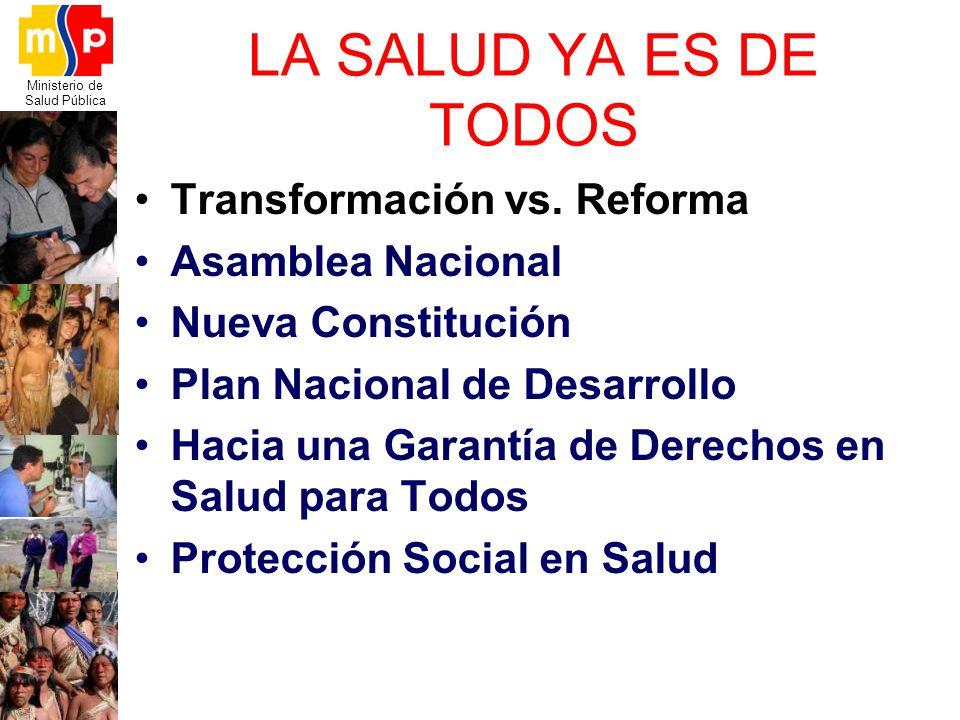 Ministerio de Salud Pública LA SALUD YA ES DE TODOS Transformación vs. Reforma Asamblea Nacional Nueva Constitución Plan Nacional de Desarrollo Hacia