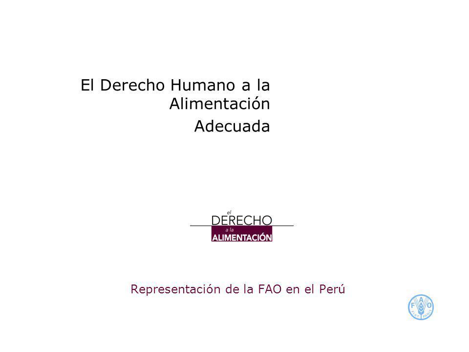 Representación de la FAO en el Perú El Derecho Humano a la Alimentación Adecuada