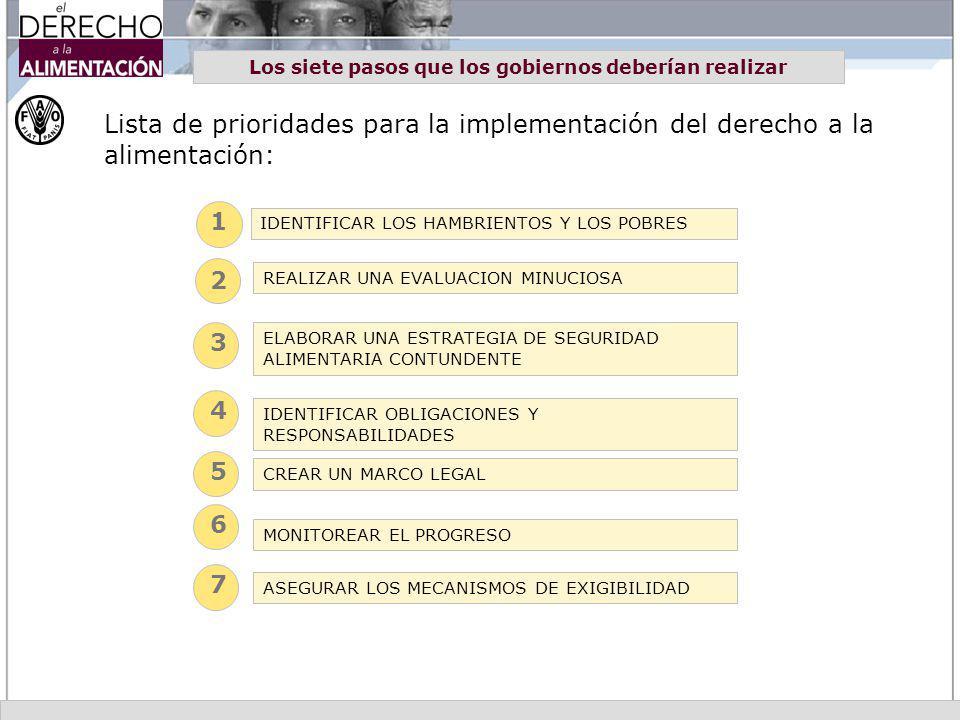 Los siete pasos que los gobiernos deberían realizar Lista de prioridades para la implementación del derecho a la alimentación: 2 3 4 5 6 7 1 IDENTIFIC