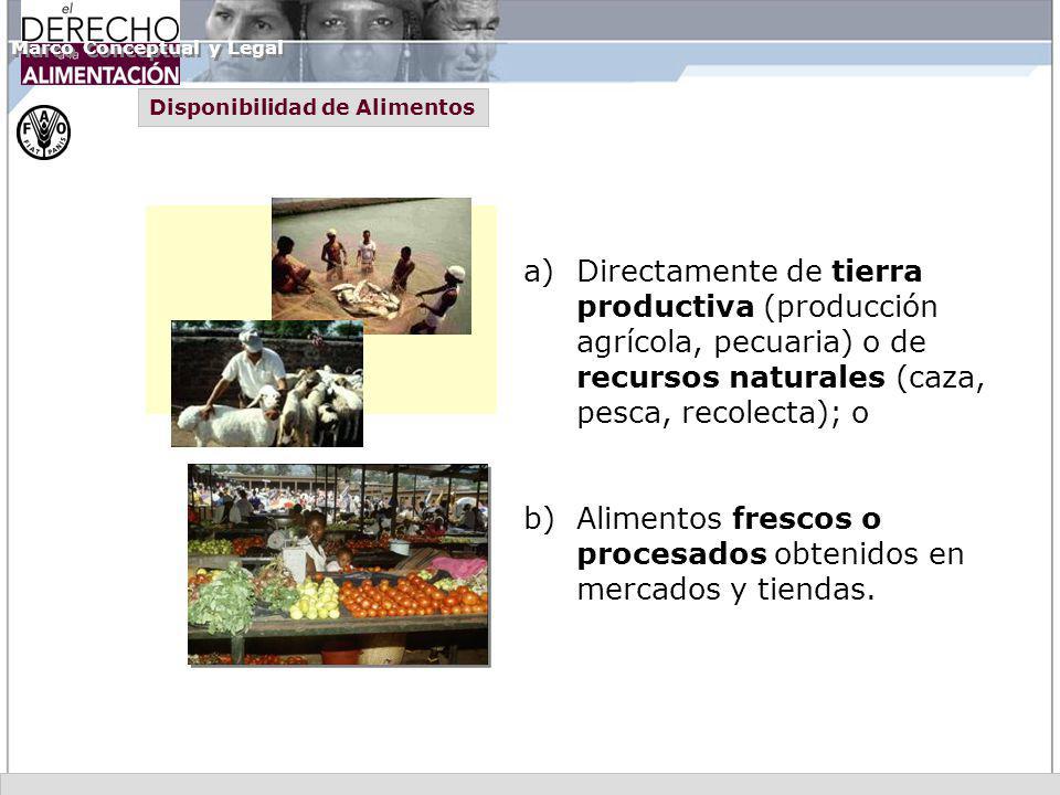 a)Directamente de tierra productiva (producción agrícola, pecuaria) o de recursos naturales (caza, pesca, recolecta); o b) Alimentos frescos o procesa