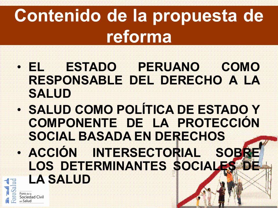 Contenido de la propuesta de reforma EL ESTADO PERUANO COMO RESPONSABLE DEL DERECHO A LA SALUD SALUD COMO POLÍTICA DE ESTADO Y COMPONENTE DE LA PROTEC
