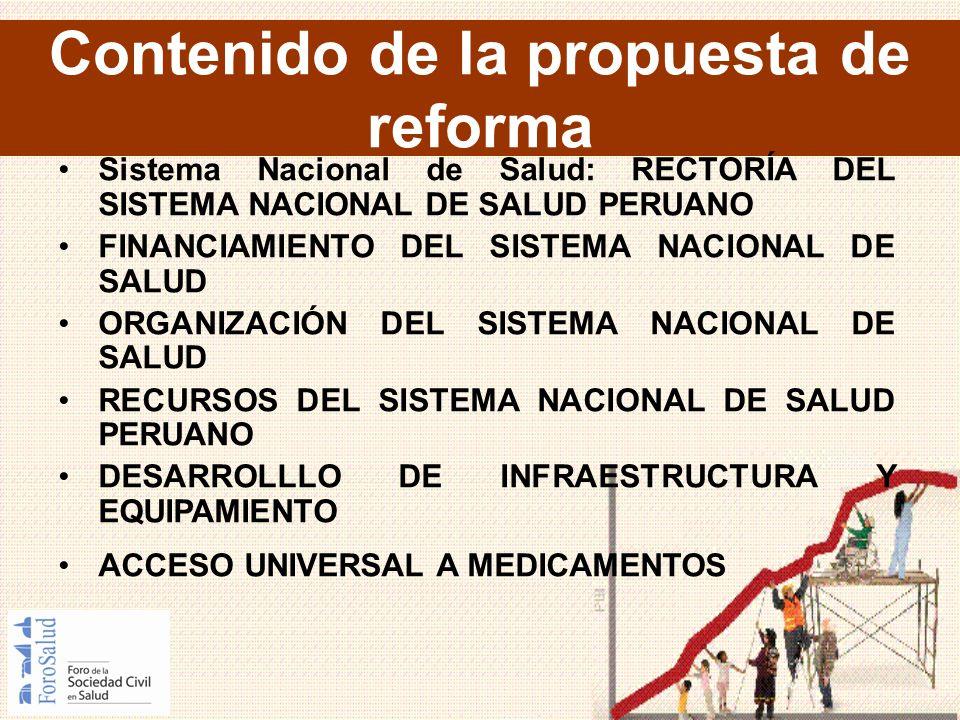 Contenido de la propuesta de reforma Sistema Nacional de Salud: RECTORÍA DEL SISTEMA NACIONAL DE SALUD PERUANO FINANCIAMIENTO DEL SISTEMA NACIONAL DE