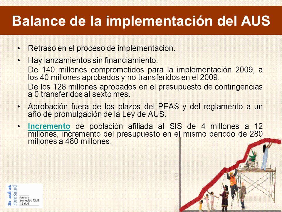 Balance de la implementación del AUS Retraso en el proceso de implementación. Hay lanzamientos sin financiamiento. De 140 millones comprometidos para