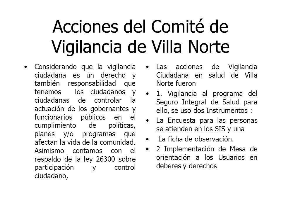 Acciones del Comité de Vigilancia de Villa Norte Considerando que la vigilancia ciudadana es un derecho y también responsabilidad que tenemos los ciudadanos y ciudadanas de controlar la actuación de los gobernantes y funcionarios públicos en el cumplimiento de políticas, planes y/o programas que afectan la vida de la comunidad.