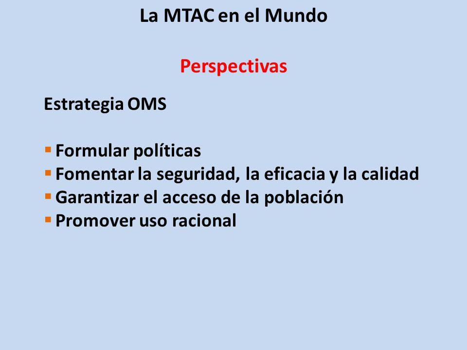 La MTAC en el Mundo Perspectivas Estrategia OMS Formular políticas Fomentar la seguridad, la eficacia y la calidad Garantizar el acceso de la población Promover uso racional