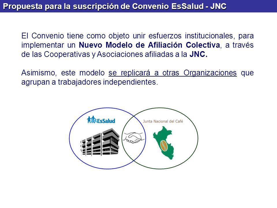 Propuesta para la suscripción de Convenio EsSalud - JNC El Convenio tiene como objeto unir esfuerzos institucionales, para implementar un Nuevo Modelo