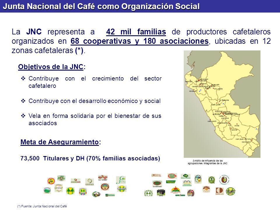 Junta Nacional del Café como Organización Social Ámbito de Influencia de las agrupaciones integrantes de la JNC La JNC representa a 42 mil familias de