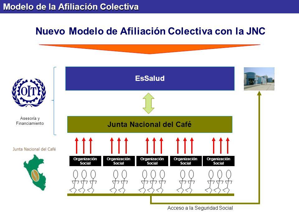 Modelo de la Afiliación Colectiva Junta Nacional del Café EsSalud Organización Social Asesoría y Financiamiento Acceso a la Seguridad Social Nuevo Mod