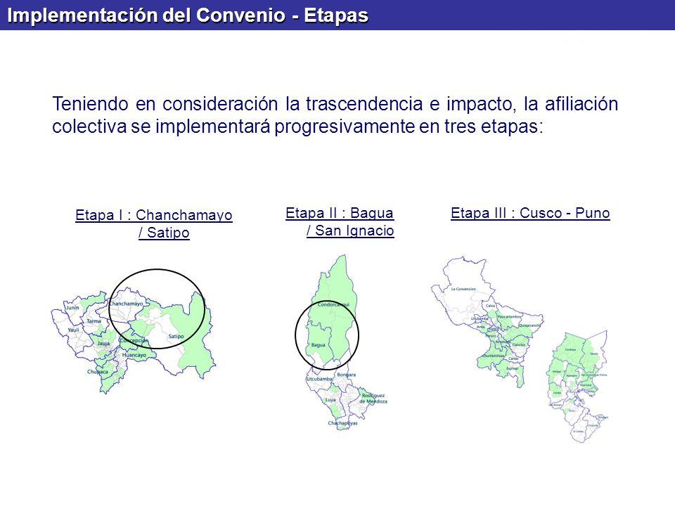 Implementación del Convenio - Etapas Teniendo en consideración la trascendencia e impacto, la afiliación colectiva se implementará progresivamente en