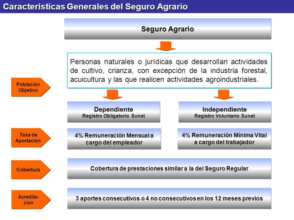 Características Generales del Seguro Agrario Seguro Agrario Personas naturales o jurídicas que desarrollan actividades de cultivo, crianza, con excepc