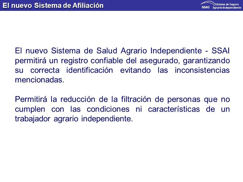 El nuevo Sistema de Afiliación SSAI Sistema de Seguro Agrario Independiente El nuevo Sistema de Salud Agrario Independiente - SSAI permitirá un regist