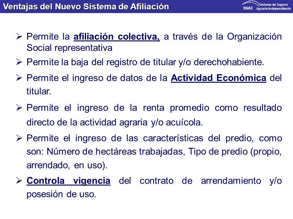 Ventajas del Nuevo Sistema de Afiliación SSAI Sistema de Seguro Agrario Independiente Permite la afiliación colectiva, a través de la Organización Soc