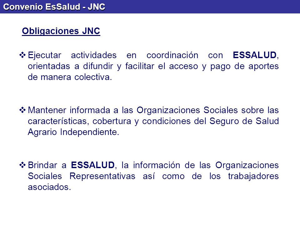 Convenio EsSalud - JNC Ejecutar actividades en coordinación con ESSALUD, orientadas a difundir y facilitar el acceso y pago de aportes de manera colec