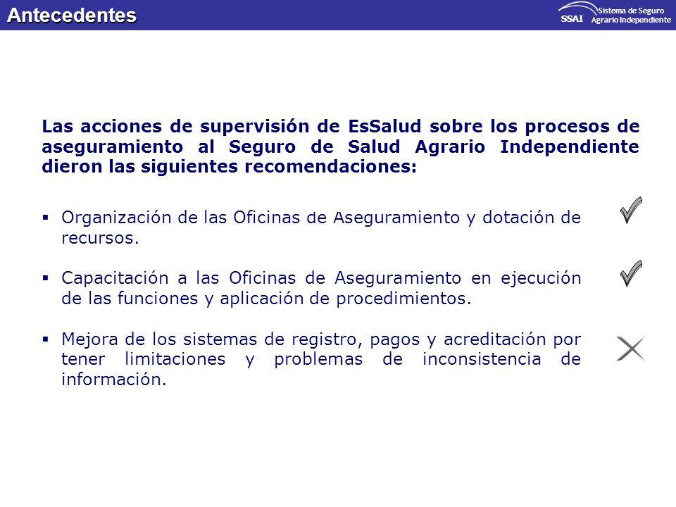 Organización de las Oficinas de Aseguramiento y dotación de recursos. Capacitación a las Oficinas de Aseguramiento en ejecución de las funciones y apl
