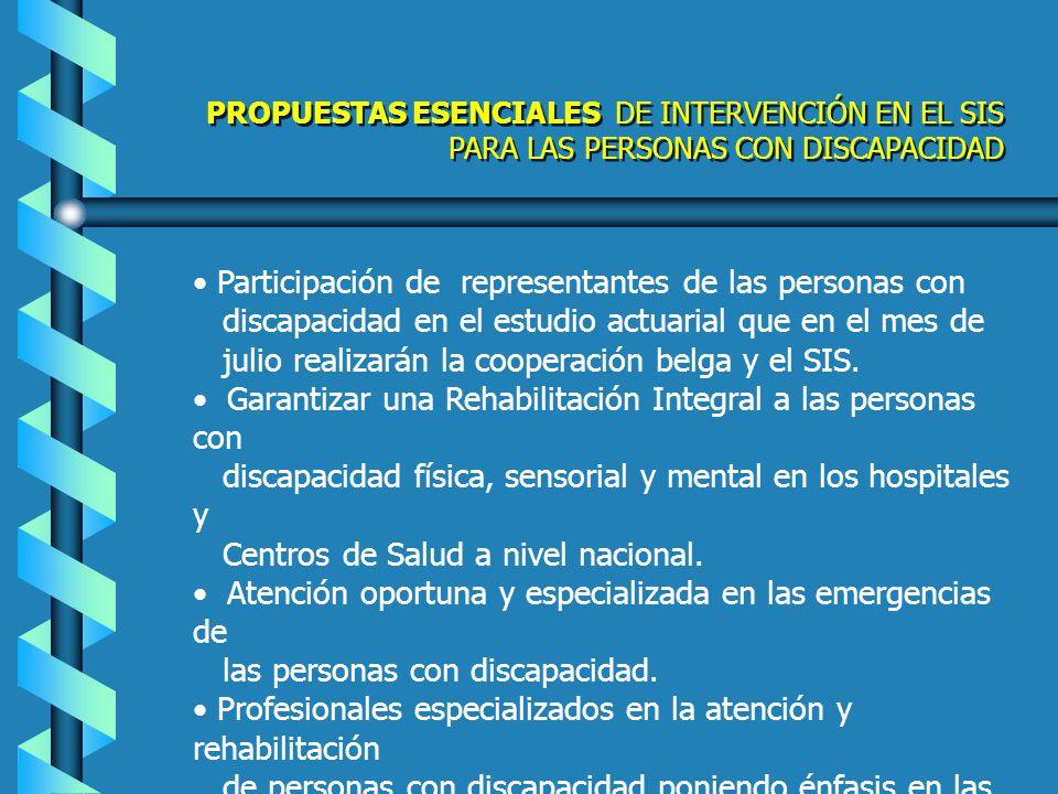 Incluir en el SIS el subsidio de exámenes especializados: Imágenes, Resonancia Magnética, Cámaras Hiperbáricas, Diálisis y otros Vigilancia y seguimiento con indicadores, de la atención a las personas con discapacidad en el SIS Acciones de cumplimiento en el SIS Implementación del Programa de Medicinas Gratuitas, NAP (Medicamentos Psiquiátricos de Depósito) para pacientes psiquiátricos en extrema pobreza sea implementado en todos los Hospitales Generales, a nivel nacional PROPUESTAS ESENCIALES DE INTERVENCIÓN EN EL SIS PARA LAS PERSONAS CON DISCAPACIDAD